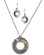 Circular Medallion Pendant Follow Your Footsteps & Rhinestone Necklace & Earring Set