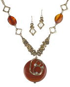 Filigree Textured Stone Crystal Charm Necklace Set & Earrings by Jewellery Nexus