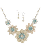 Textured Fabric Beaded Crystal Flower Necklace Set By Jewellery Nexus