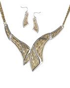 Gold-tone Weave Two Tone Neck Tie Collar Bib Necklace Set by Jewellery Nexus