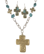 Hammered Cross Imitation Abalone and Blue Bead Necklace & Earring Set - Jewellery Nexus