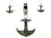 Green Abalone Shell Anchor Magnet Nautical Theme Pendant Set with Popcorn Chain & Earrings