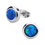 Inox Jewellery SSE722KO Bezel Set Synthetic Opals Stainless Steel Stud Earrings, Black