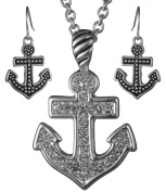 Anchor Pendant Necklace Nautical Theme with Rhinestones Set with Earrings by Jewellery Nexus