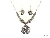 Hammered Sand Dollar Texture Antique Finish Necklace Set Earrings by Jewellery Nexus