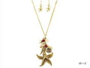 Textured Starfish Real Shell Dangle Necklace Set with Star Fish Earrings by Jewellery Nexus