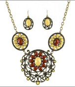 Designer Flower Filigree Chain Necklace Set Matching Earrings by Jewellery Nexus