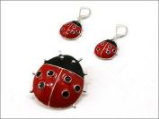 Red & Black Lady Bug Dual Function Brooch & Pendant with Popcorn Chain & Earring Set - Jewellery Nexus