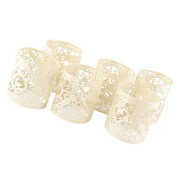 Sharplace 30pcs Cream Heart Tea Light Candle Holders Flameless Votive Candles Wrap Decoration Supplies for Home Wedding Party