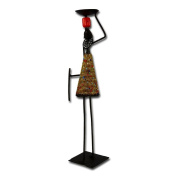 """Metal candle holder """"African Woman"""", gold"""