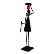"""Metal candle holder """"African Woman"""", black"""