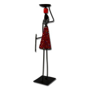 """Metal candle holder """"African Woman"""", red"""