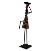 """Metal candle holder """"African Woman"""", black/brown"""