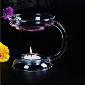 Kicode Light Holder Aroma Candlestick Double layer Oil Warmer Glass Candle Holder With Handle Table Decor