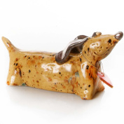 Ginger Tan Sausage Dog with Metallic Ears | Red Heart | Love | Ceramic quirky Ornament | Gift For a Dog Lover | Collectible Figurine | Wooden Plaque to write a message