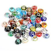 Naler 50pcs Beads Glass Beads European Beads Pendant Charm for Necklace Bracelet Earrings Jewellery Making Jewellery Finding