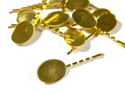 Hairpin parts with pedestal oval 10 gold 19 mm x 26 mm pin 55 mm