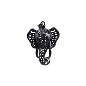 JulieWang 6Pcs Black Elephant Beads Lockets Stone Pearl Cage Pendant Charm for Jewellery Making