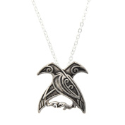 YNuth Vikings Norse Odin's Ravens Pendant Necklace Ancient Silver Tone for Men