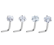 Injoy Jewellery 4pcs 20G Nose Rings Studs Stainless Steel Cubic Zirconia Crystal Nose Studs Curved Bar L Shape Piercing Jewellery