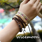Wicemoon Leather Woven Multi-Layer Chain Bracelet Female Trinket Decorated Hand Ornaments Chain Hand Bracelet Accessories