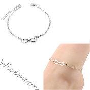 Wicemoon 21CMM Simple Lucky 8-Character Anklet Bracelet Female Trinket Foot Decorated Foot Ornaments Anklet Chain Female Twist Interlaced Foot Jewellery Simple Anklet Accessories