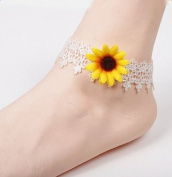 Wicemoon Sunflower Lace Anklet Chain Female Twist Interlaced Foot Jewellery Simple Anklet Accessories