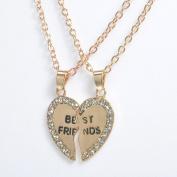 Smile YKK 2PCS Alloy CZ Split Friendship Heart Chain Pendant Necklaces