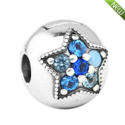 PANDOCCI 2017 Christmas Gifts Blue Bright Star Clip Beads DIY Fits for Original Pandora Bracelets 925 Silver Charm Fashion Jewellery