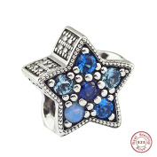 MOCCI European Christmas Collection Blue Bright Star Crystal Beads DIY Fits for Original Pandora Bracelets 925 Silver Charm Jewellery