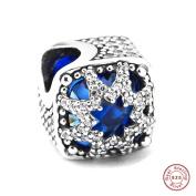 MOCCI European Christmas Gift Blue Glacial Beauty Bead DIY Fits for Original Pandora Bracelets 925 Silver Charm Fashion Jewellery