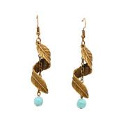 yipinco7285 Ladies Helical Leaf Dangle Alloy Jewellery Earrings
