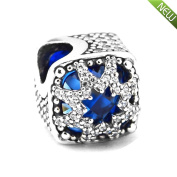 PANDOCCI 2017 Christmas Gift Blue Glacial Beauty Charm Beads Authentic 925 Sterling Silver DIY Fits for Original Pandora Barcelets Charm Fashion Jewellery