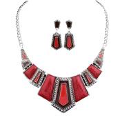 Bobury Retro Alloy Geometric Drops Beads Collar Chain Necklace Earrings Jewellery Set
