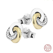 MOCCI Spring Fashion Authentic 925 Sterling Silver Interlinked Circle Stud Earrings for Women Jewellery