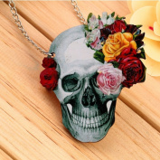 Kingwin Colourful Skull Skeleton Pendant Chain Flower Rose Necklace Sweater Chain Clothing Accessories