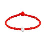 Yiwa Women Lucky Hand Chain 925 Silver Ball Bead with Red Rope Line Bracelet Red Cord Cuff Bangle