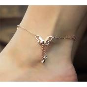 Kingwin Elegant Rhinestone Butterfly Tassel Anklet for Women Girls - Rose Gold