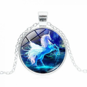 display08 Vintage Cabochon Glass Unicorn Pendant Necklace Sweater Chain Jewellery