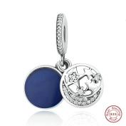 MOCCI Christmas Vintage Night Sky Shimmering Midnight Blue Enamel Clear CZ Beads Fits for Original Pandora Charms Bracelet Jewellery Making