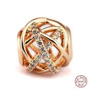 MOCCI European Rose Galaxy Openwork Clear CZ Beads DIY Fits for Original Pandora Bracelets 925 Silver Charm Jewellery