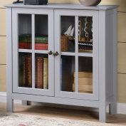 American Furniture Classics OS Home and Office Dark Grey Glass Door Accent and Display Cabinet, Dark Grey Paint
