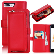 For iPhone 7 Plus Wallet Case,Vandot Detachable Purse Magnetic Slim PU Leather Protective Shell Cover Card Holder Slots Zipper Pocket Removable Hard Back Cover Case For iPhone 7 Plus 14cm -Red