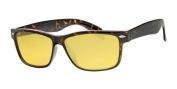 Night Driving Yellow Lens Wayfarer Glasses, Tortoise Shell Brown Frame, Free Yellow Neckcord, Free Drawstring Pouch, Full UV400 Protection