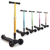"""3Style Scooters® RGS-3 Big Kids Three Wheel Kick Scooter - Perfect For Kids Aged 7+ - Foldable Design, 2"""" Heavy Duty Black Wheels, Adjustable Height Handles"""