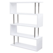 Diamond Sofa X2 Large Shelving Unit in White Lacquer with Metal Supports
