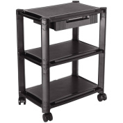 ProHT 05470 3-Shelf Mobile Printing Stand with Drawer, Black