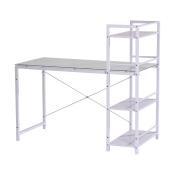 HomCom 130cm Multi Shelf Tower Office Workstation Computer Desk - White