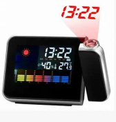 Wmshpeds Projection clock / fashion alarm clock / snooze function weather forecast projection clock calendar