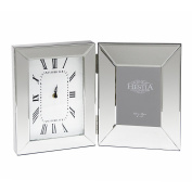 Mirrored Glass Clock with Photo Picture Frame Hinged Roman Numerals 30 x 44 cm
